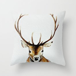 Buck - Watercolor Throw Pillow