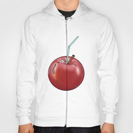 red Apple and a cocktail straw Hoody