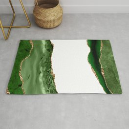 Beautiful Emerald And Gold Marble Design Rug
