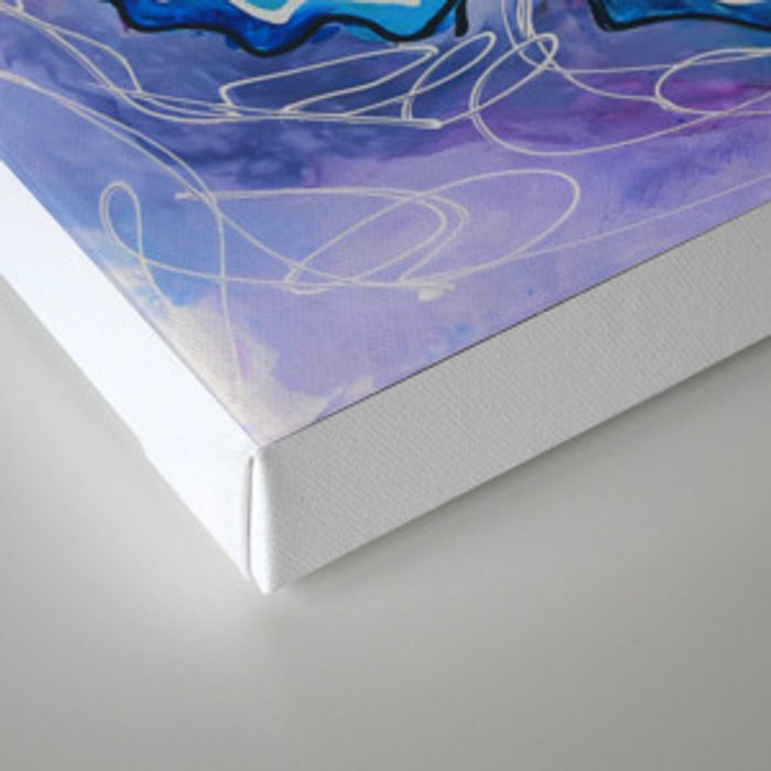 Butterfly_ Blue and violet background, 24 X 24 acrylic original artwork Canvas Print