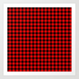 Mini Red and Black Coutry Buffalo Plaid Check Art Print
