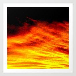 Black Yellow Red Sunset Art Print
