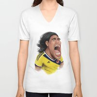 colombia V-neck T-shirts featuring Falcao - Colombia by Sant Toscanni