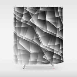 Exclusive monochrome pattern of chaotic black and white shards of glass, paper and ice floes. Shower Curtain