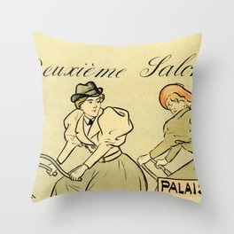 1894 Paris Second Expo of the bicycle horizontal banner Throw Pillow
