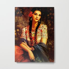 Jesus Helguera Painting of a Mexican Calendar Girl with Braids Metal Print