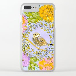 Spring Chickadee in Flowery Woodland Wreath Clear iPhone Case
