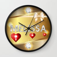 melissa smith Wall Clocks featuring Melissa 01 by Daftblue