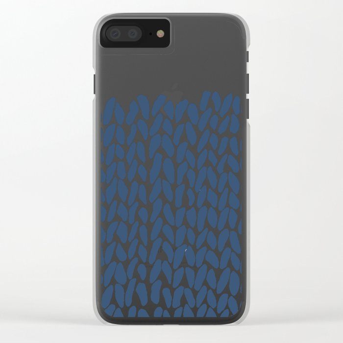 Half Knit Navy Clear iPhone Case
