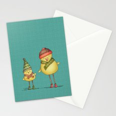 Two Chicks - teal Stationery Cards