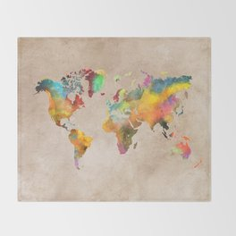 World map 1 Throw Blanket