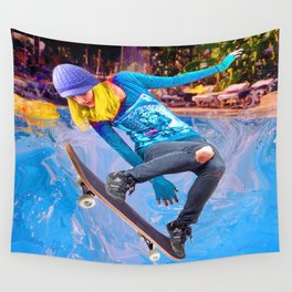 Skateboarding on Water Wall Tapestry