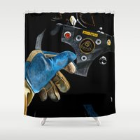 senna Shower Curtains featuring Ayrton Senna 1985 Lotus  by Borja Sanz