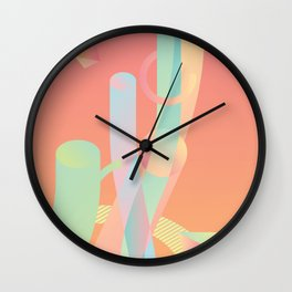 color modern design elements, abstraction, background, retro-futurism, neon style Wall Clock