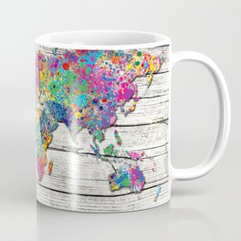 world map wood 4 Coffee Mug