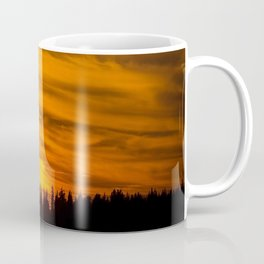 Cloudy Sunset With Forest Line - Scenic Landscape - #society6 #decor #buyart Coffee Mug