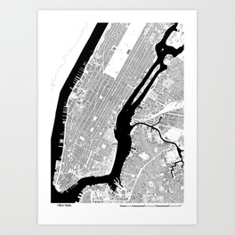 NEW YORK BLACK & WHITE MAP Art Print