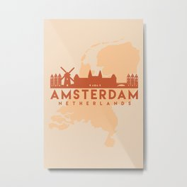 AMSTERDAM HOLLAND CITY MAP SKYLINE EARTH TONES Metal Print