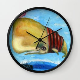 Flying Sperm Whale by AleDiaz Wall Clock