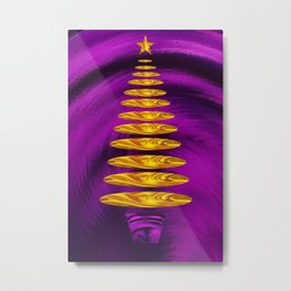 Abstract Golden Christmas Tree On Purple Background  Metal Print