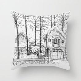 Snowy House Throw Pillow