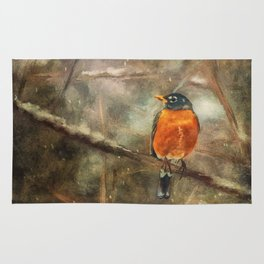 American Robin In The Snow Rug