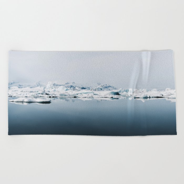 Ethereal Glacier Lagoon in Iceland - Landscape Photography Beach Towel