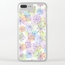 Merry Christmas pattern with purple snowflakes on light background Clear iPhone Case