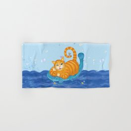 Orange tabby cat & blue catfish  Funny kids illustration Hand & Bath Towel