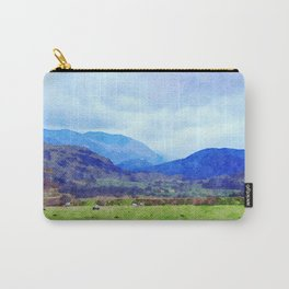 Sheep in Pasture View from Castlerigg Stone Circle, Lake District UK Watercolor Carry-All Pouch