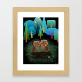 Owl Pals In The Forest Framed Art Print