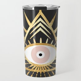 gold foil triangle evil eye Travel Mug