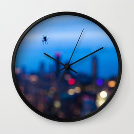 Spider behind the window Wall Clock
