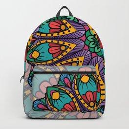 Bohemian Boho Chic Hippie Teal Peacock Feather Mandala Design Backpack