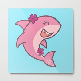 Pink Ocean Shark Metal Print