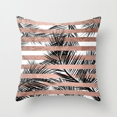 Trendy tropical palm trees chic rose gold stripes Throw Pillow