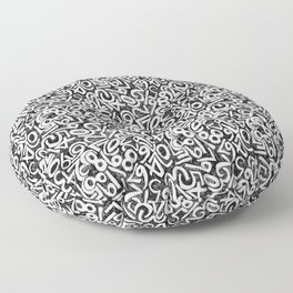 Numbers pattern in black and white Floor Pillow