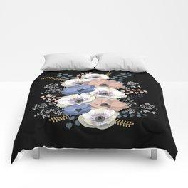 Anemones bouquet in black Comforters