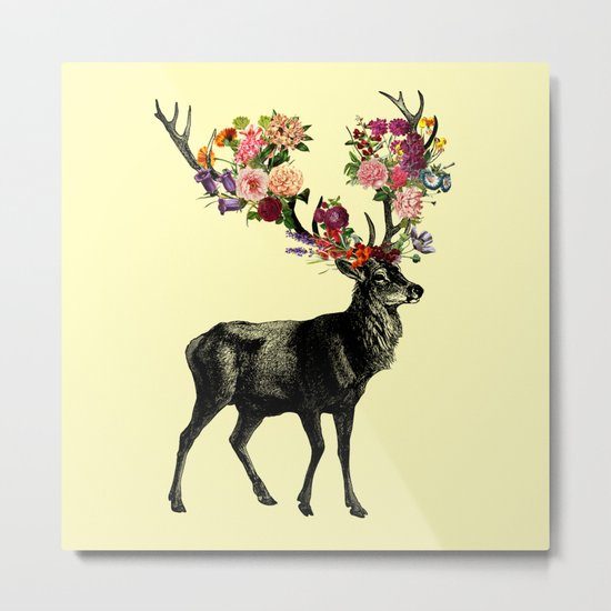 Spring Itself Deer Floral (Cream) Metal Print
