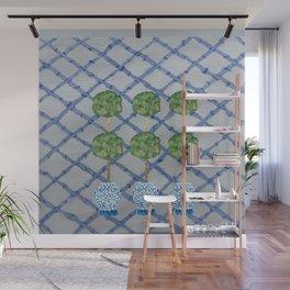 Blue Lattice Ginger Jars Topiary  Wall Mural