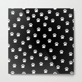 Cat's hand drawn paws in black and white Metal Print