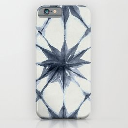 Shibori Starburst Indigo Blue on Lunar Gray iPhone Case