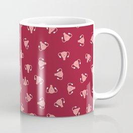 Crazy Happy Uterus in Red, small repeat Coffee Mug