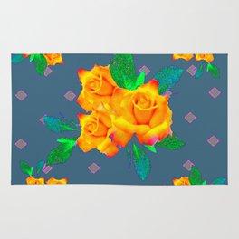 Teal Color Golden Roses Bouquet Patterns Rug