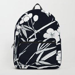 bamboo and plum flower white on black Backpack