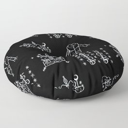 Papa Legba + Baron Samedi + Gran Bwa + Damballah-Wedo Voodoo Veve Symbols in Black Floor Pillow