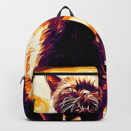 british shorthair cat ready to attack vector art late sunset Backpack
