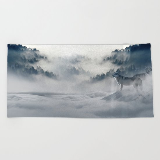 Wolves Among the Snowcaped Mountain Beach Towel