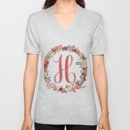 Personal monogram letter 'H' flower wreath Unisex V-Neck
