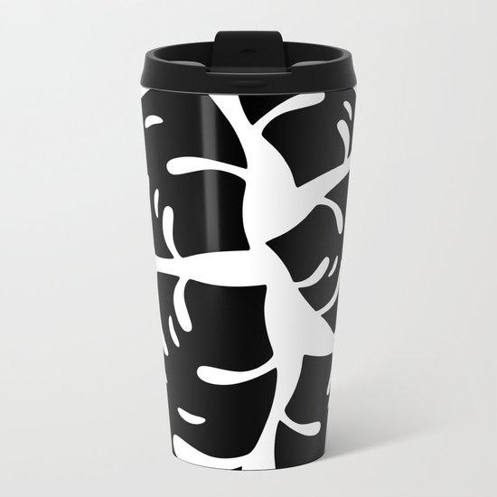 Black and White Palm Leaves Metal Travel Mug